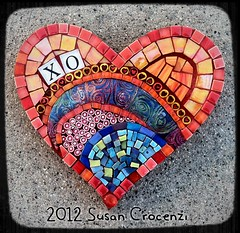 XO (sucra88) Tags: orange glass pc heart mosaic mixedmedia mosaico polymerclay glassmosaic premo millefiore smalti mosaicheart scmosaicscom