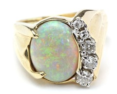 1014. Opal and Diamond Ring
