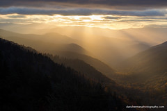 Fall in the Great Smokies (Dan Sherman) Tags: sun mountains clouds sunrise unitedstates northcarolina sunrays smokymountains greatsmokymountains appalachianmountains brysoncity greatsmokymountainsnationalpark greatsmokies