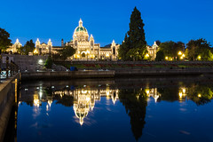 Blue hour at Victoria  (Sharleen Chao) Tags: travel canada reflection building architecture sunrise canon dawn downtown cityscape bc nopeople victoria bluehour   parliamentbuilding 1635mm digitalcameraclub canoneos5dmarkiii canon5dmarkiii