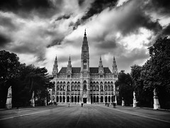 Enter If You Dare (edsheadsaid) Tags: vienna wien city white storm black building salzburg monochrome architecture germany austria town hall fuji cloudy gothic stormy german civic fujifilm x10 germanic x100
