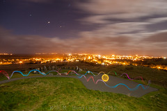 Balls + Ribbons Above Stornoway (M+M Morrison) Tags: longexposure light lightpainting canon ball painting stars long exposure paint angle wide orb sigma led sphere mm morrison bol orbs 1020 redsnapper balloflight 500d lightpaint v24 canon500d lenser orbing lenserv24 mmmorrison