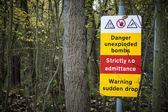 Bomb Warning (Tangoman11) Tags: uk trees england grave sign yellow danger forest warning underground wwii explosion drop bunker disaster ww2 trunk noentry bomb bombs staffordshire hazardous hazard prohibited explosives raf unexploded ordnance munitions sudden royalairforce fauld