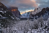 Valley of Frost (Lee Sie) Tags: trees sunset snow mountains clouds forest nationalpark frost day meadows valley yosemite halfdome bridalveilfalls sdf13