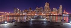 Pier 14 (rootswalker) Tags: sanfrancisco city longexposure night availablelight pano panoramic fullmoon citylights embarcadero transamericabuilding zf pier14 bluebeacon distagont2821