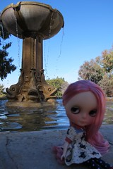 Sitting fountain side (Smeebot) Tags: pink dog kyle hair doll dress kay blythe neo custom scotty melly malagacovelibrary plasticfashion