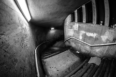 The Uninvited [Explored] (Scott Baldock Photography) Tags: city nightphotography bridge light bw white fish black london eye art thames architecture night stairs dark spiral mono scary nikon long exposure angle low homeless wide atmosphere creepy fisheye waterloo 8mm spiralstaircase cityoflondon uninvited lightroom waterloobridge urbex cityarchitecture samyang
