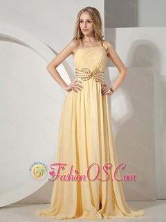 2013 Beaded One Shoulder Chiffon For Yellow Prom Evening Dress With Brush Train Fashionos.com