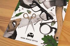 Herr Menig Optik in the Woods (Philipp Zurmoehle) Tags: wood shop illustration glasses saw oak drawing postcard ad drawings pins scissors acorn commercial postcards axe herr optician optik menig herrmenig