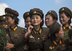 Smiling North Korean Female Soldiers In Tower Of The Juche Idea, Pyongyang, North Korea (Eric Lafforgue) Tags: 2024years 20s armedforces army asia asian beauty capitalcities clothing color colour copyspace day democraticpeoplesrepublicofkorea dprk eti6339 headandshoulders horizontal military northkorea northkorean onlywomen pyongyang smallgroupofpeople soldier soldierarmy uniform women insidenorthkorea coree asie  korea coreadelnord    coreadelnorte coreiadonorte  nordkorea   rpdc  war