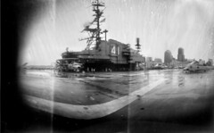 USS Midway Aircraft Carrier-turned museum, San Diego Harbor, California (Crunchy Footsteps) Tags: paper harbor us san aircraft wwii navy diego pinhole negative midway uss carrier caffenol coffeedeveloped