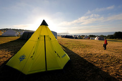 Yellow Teepee (MrHRdg) Tags: eweleazefarm redcliffpoint teepee yellow camping campsite tent morning pointfield dorset freeassociation