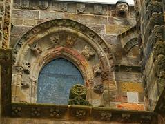 Rosslyn Chapel Upper Window (lindawood2414) Tags: rosslyn chapel window glass architecture roses shields gargoyle edinburgh sculpture waterspout