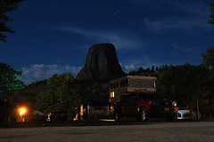 Third Night (view2share) Tags: wy wyoming camp camping truckcamper toyota toyotatacoma 2013toyotatacoma koa camper deansauvola august152016 august2016 august 2016 devilstower park nationalpark nationalmonument devilstowernationalpark devilstowernationalmonument night dark twighlight evening stars sky clouds summer light nightlights sleep rest roadtrip trees travel travels