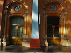 St. Pancras Station Architecture (35mmMan) Tags: stpancras station terminus london railway victorian architecture samsungkzoom android cameraphone blue brick colours st pancras ironwork