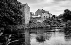 The River Tees . (wayman2011) Tags: canon5d lightroom wayman2011 bwlandscapes mono architecture oldmills oldbuildings reflections rivers rivertees trees water pennines dales teesdale barnardcastle uk