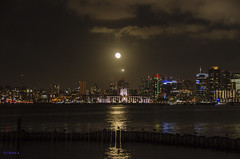 The moon over the skyline (ryanDAR) Tags: skyline harborisland sandiego night fullmoon