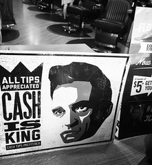 8/4/16 Cash (Karol A Olson) Tags: johnnycash cash tip sign floyds99 barbershop hairsalon aug16 project3662016