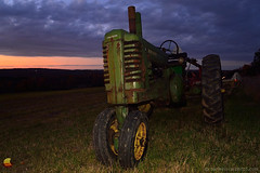 John Deere, A Tractor at Sunset (DTD_0683) (masinka) Tags: green tractor johndeere rural farm equipment clouds cloudy sunset wny 716 westernnewyork ny grass meadow dramatic commanding colors