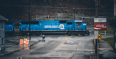 Enjoy a Conrail (benpsut) Tags: cocacola coke conrail conrailblue conrailquality emdsd60i ns6735 nsmonline rainy dreary railroad streetrunning trains brownsville pennsylvania unitedstates us