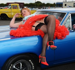 Ange L'Que_8791 (Fast an' Bulbous) Tags: high heels stilettos stockings dress girl woman car vehicle muscle automobile oldtimer classic american santa pod chick babe mature milf nikon d7100 gimp