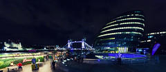 Tower Bridge And City Hall (Florian Bütow) Tags: london uk england architecture night building cityscape light street travel sky city europe hall tower bridge urban clouds 16x7