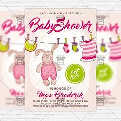 Baby Shower Vol5 - Premium Flyer Template + Instagram Size Flyer (ExclusiveFlyer) Tags: birthdayinvitation blue card celebration children cute daughter father firstbirthday girl godfather godmother babyshower kids