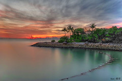Sentosa Sunset (Ken Goh thanks for 2 Million views) Tags: siloso beach sentosa sunset watre reflection burningcloud coconut tree landscape sigma 1020 pentax k1