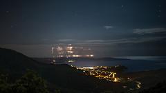 a pte au large ! (Janis-Br) Tags: orage distance mer cte var nuage ville calme night nuit colline littoral