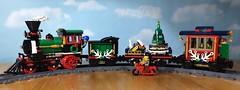 El Chapo chases the train! (woodrowvillage) Tags: lego train winter holiday motorcycle el chapo cartel toy fun christmas legos minifigure