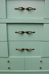 70s chest upclose (Its Lina) Tags: green vintage diy hardware 60s furniture painted mint makeover 1960s knobs brass mintgreen pulls refinished chestofdrawers sixdandylions