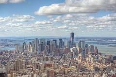 Wide angle of lower Manhattan HDR (Dave DiCello) Tags: newyorkcity newyork photoshop nikon manhattan worldtradecenter tripod newyorkskyline empirestatebuilding statueofliberty nikkor hdr highdynamicrange nycskyline cs4 7worldtradecenter freedomtower photomatix tonemapped colorefex cs5 d700 davedicello hdrexposed observationdeckattheempirestatebuilding 102ndfloorattheempirestatebuilding