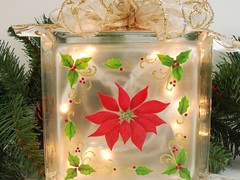Lighted Glass Block Red Poinsettia Hand Painted 5 3/4 x 5 3/4 x 3 1/4 (Painting by Elaine) Tags: christmas red holiday painted poinsettia decoration handpainted decor homedecor glassblock paintedglass accentlight handpaintedglass lightedglassblock paintingbyelaine