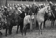 battle of hastings 1066: The well disciplined Norman Knights await their orders ! (pg tips2) Tags: horses blackandwhite bw horse english heritage monochrome grey blackwhite hill gray william norman ridge knights views knight hastings 500 normandy reenactment norsemen equine saxon 2012 conqueror 1066 normans battleofhastings conroe senlac conroi