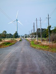 road with wind mill in the background (bryntrans8877) Tags: road sky nature landscape outdoors photography countryside vanishingpoint day technology empty nobody nopeople direction electricity continuity roadside turbine windturbine countryroad windpower absence colorimage diminishingperspective overheadwires emptyroad nonurbanscene thewayforward singlelaneroad fuelandpowergeneration powerinnature