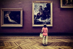 In Awe of Art (TheFella) Tags: pictures travel portrait woman paris france slr art museum female digital photoshop canon vintage painting person eos hall photo still europe louvre candid interior room capital paintings muse retro photograph processing lone palais 5d inside dslr awe palaisroyal admiring pictureframes mkii markii musedulouvre postprocessing admire travelphotography thefella 5dmarkii conormacneill thefellaphotography