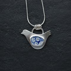 Dove Pottery Shard Pendant (moonflygirl) Tags: london thames foundobjects shards potteryshards potteryshardjewellery taniacovo