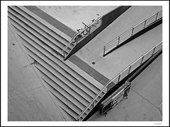 From above (frode skjold) Tags: bw monochrome oslo norway stairs mono norge rail trapper rekkverk canonpowershots95 photoshopelements10 mathallen
