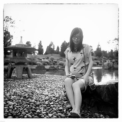 Eleanor (The91) Tags: light portrait bw 6x6 film rock mediumformat garden square singapore fuji seagull 14 over chinese pregnant negative 200 squareformat sit push mf neopan eleanor ilford wy acros pushprocess 75mm  ddx seagull4a103 4a103 4a103