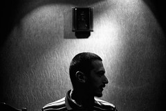 otherland (SimonSawSunlight) Tags: portrait white black film 35mm photography living head room profile documentary rangefinder m analogue hold sortof otherland