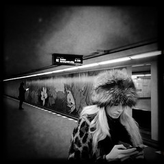 Bismarckstraße Trainstation #2 (svavaroe) Tags: city blackandwhite bw man black berlin guy girl architecture germany underground square blackwhite waiting trainstation ios bnw iphone 2013 deatschland bismarckstrase iphonegraphy hipstamatic iphone4s deatschlandgermany