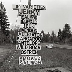 Animals, Highway 26, Oregon (austin granger) Tags: film animals flesh oregon square mushrooms buffalo tissue salt alligator salmon meat deer ostrich venison kangaroo antelope dried elk jerky carnivore wildboar highway26 gf670 austingranger