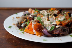 roasted butternut squash and red onion with tahini and za'atar (sassyradish) Tags: winter cooking vegan squash vegetarian onion sassyradish glutenfree