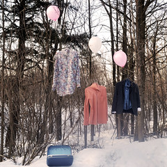 Kids that I once knew. (ripme0pen) Tags: trees color colour contrast vintage balloons whimsy spirits clothes suit helium wonderland suitcase