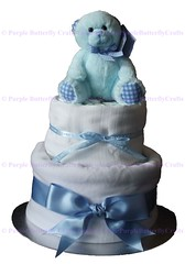 2 Tier White Blue with Bear Cake