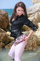 #246 Wetlook with Beautiful Brunette in Leggings and Jacket. Girl in black jacket, white wetlook leggings and skirt in boots, get wet fully clothed in the sea. (Wetlook with WetFoto.com. Wet fully clothed girls.) Tags: sea woman sexy wet water girl beautiful