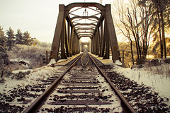 Train bridge (DavidAndersson) Tags: railroad bridge train vanishingpoint sweden railway vnersborg vargn tamron18200f3563