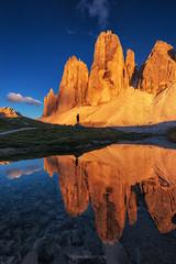 Tre Cime (Piriya Pete Wongkongkathep) Tags: tre cime dolomite italy mountain reflection sunlight peak
