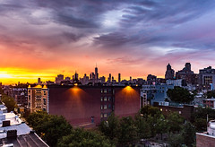 bask in its glory (thebrooklyndodger) Tags: newyorkcity ny manhattan city architecture urban night building sky cityscape sunset clouds light skyline blue yellow pink colors brooklyn nyc bluehour newyorkphotography cityscene rooftops shotfromabove