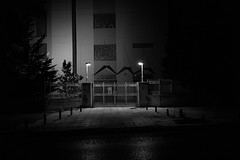 untitled (ChrisRSouthland (away and mainly off for several w) Tags: nightphotography night bw monochrome blackandwhite mm mmonochrom elmarit28mmf28 leica athens gate building mysterious